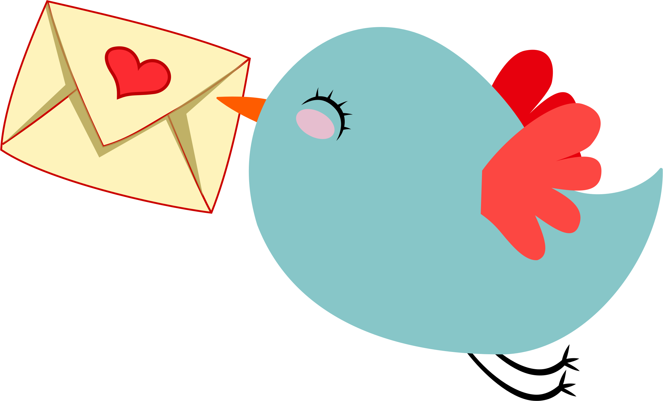 svg royalty free Cute Mail Carrier Bird by GDJ