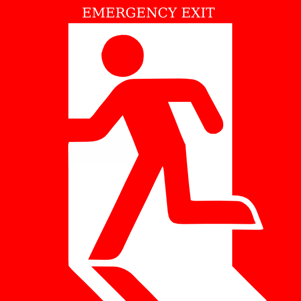 picture black and white stock Exit clip art at. Emergency clipart.