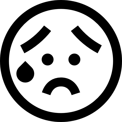 svg free stock Emoji clipart black and white. Worried emoticon haw fill