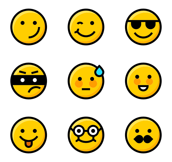 svg black and white library Vector emojis.  emoji icon packs