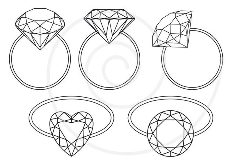 vector free stock Diamond ring digital clip. Engagement clipart bridal shower