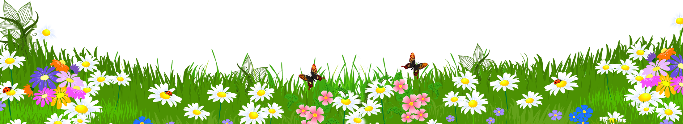 graphic royalty free library Ground with flowers png. Grass clipart blue background