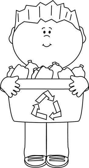 banner freeuse library Carrying a recycle bin. Boy black and white clipart