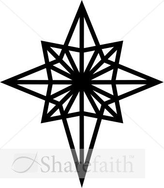 graphic free stock Black and white star. Epiphany clipart christmas