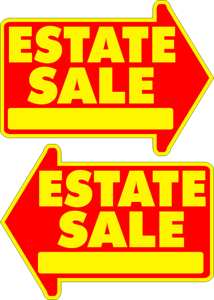 clip art library library Estate Sale Yard Sign Large Yellow FREE SHIPPING