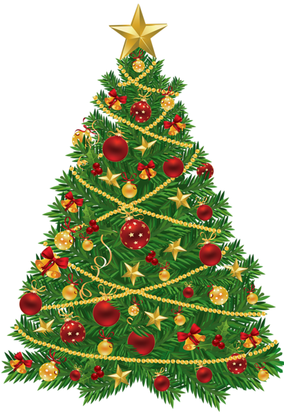 svg free download Large Transparent Christmas Tree with Red and Gold Ornaments Clipart