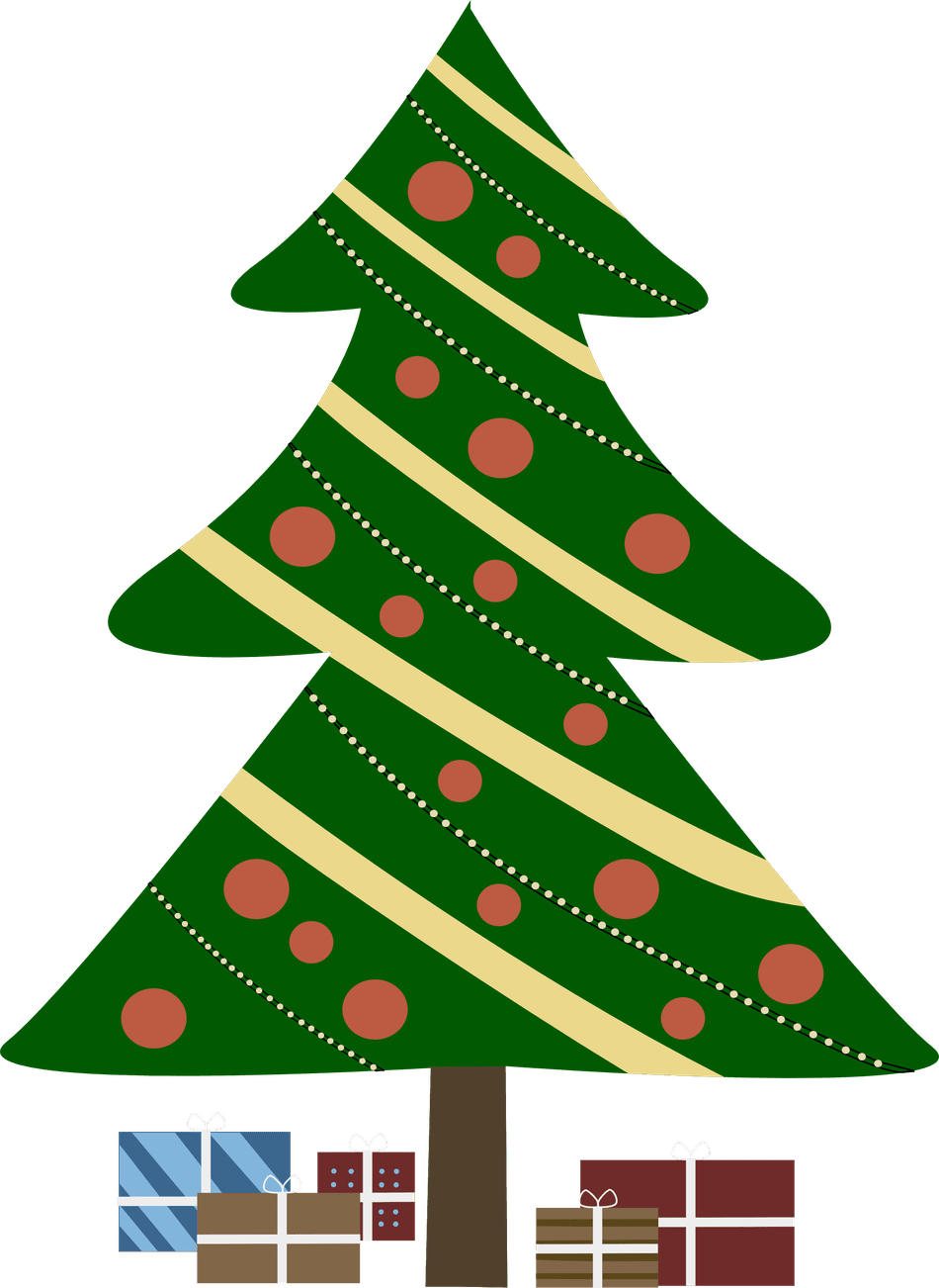 image Christmas tree with presents clipart.  free clip art