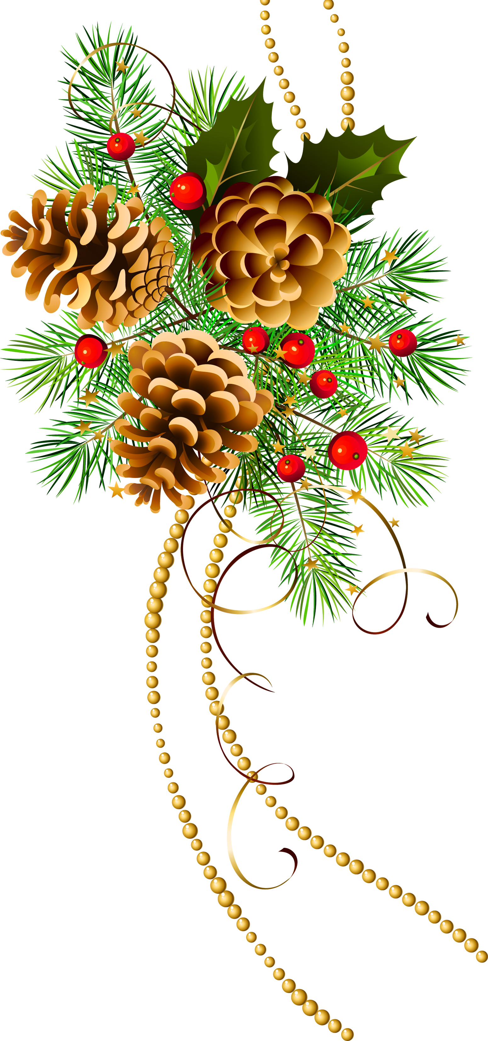 clipart free stock Evergreen clipart swag. Three christmas cones with