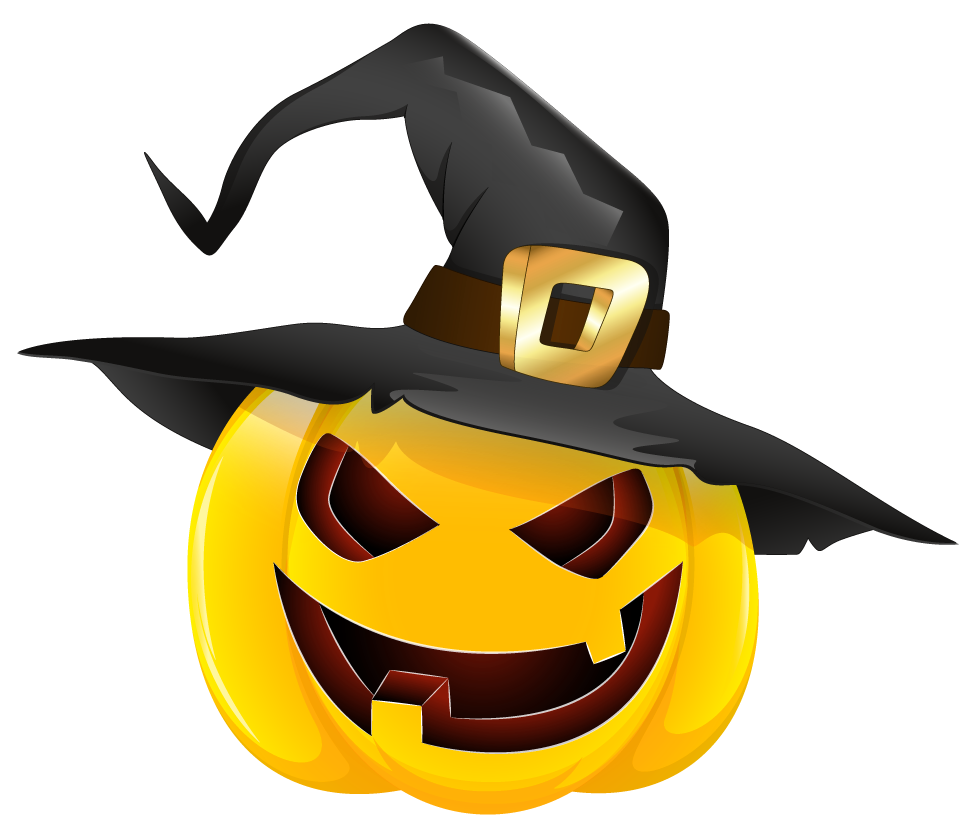 picture free download Halloween Evil Pumpkin with Witch Hat Clipart