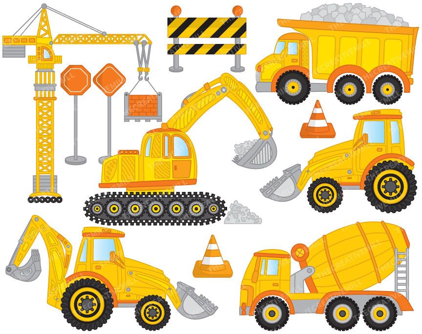 clipart free stock Excavator clipart construction project. Vector crane off sale