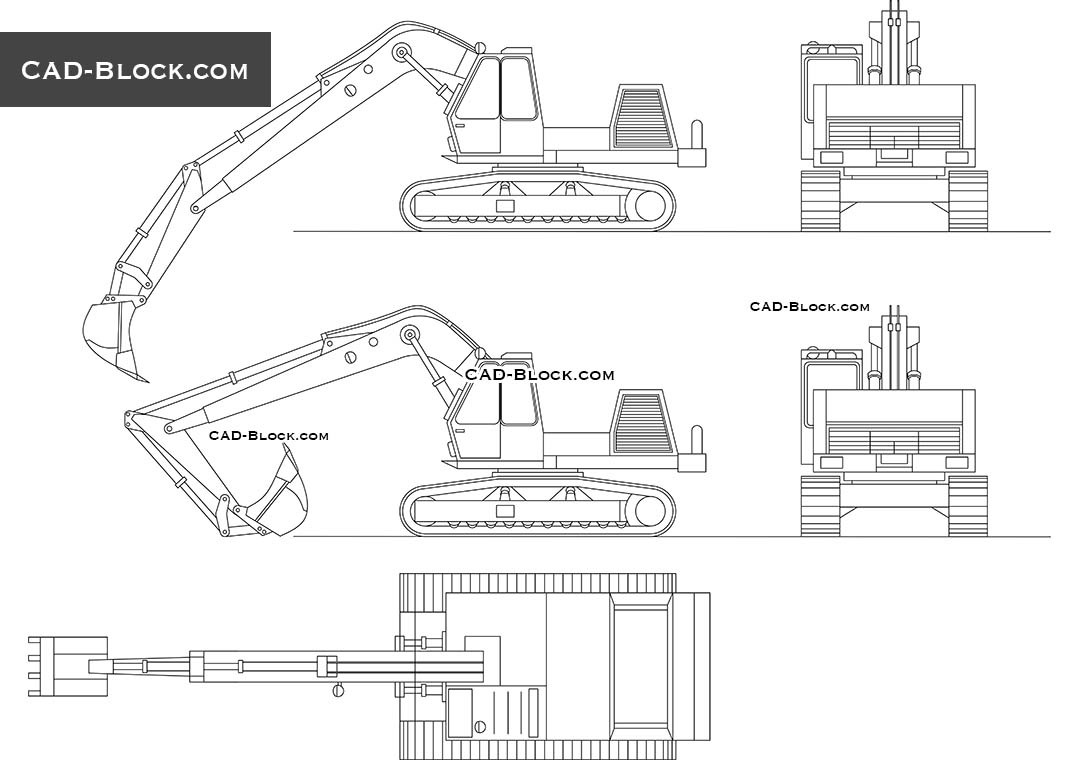 clipart library stock Excavator drawing side view. Cad block dwg autocad