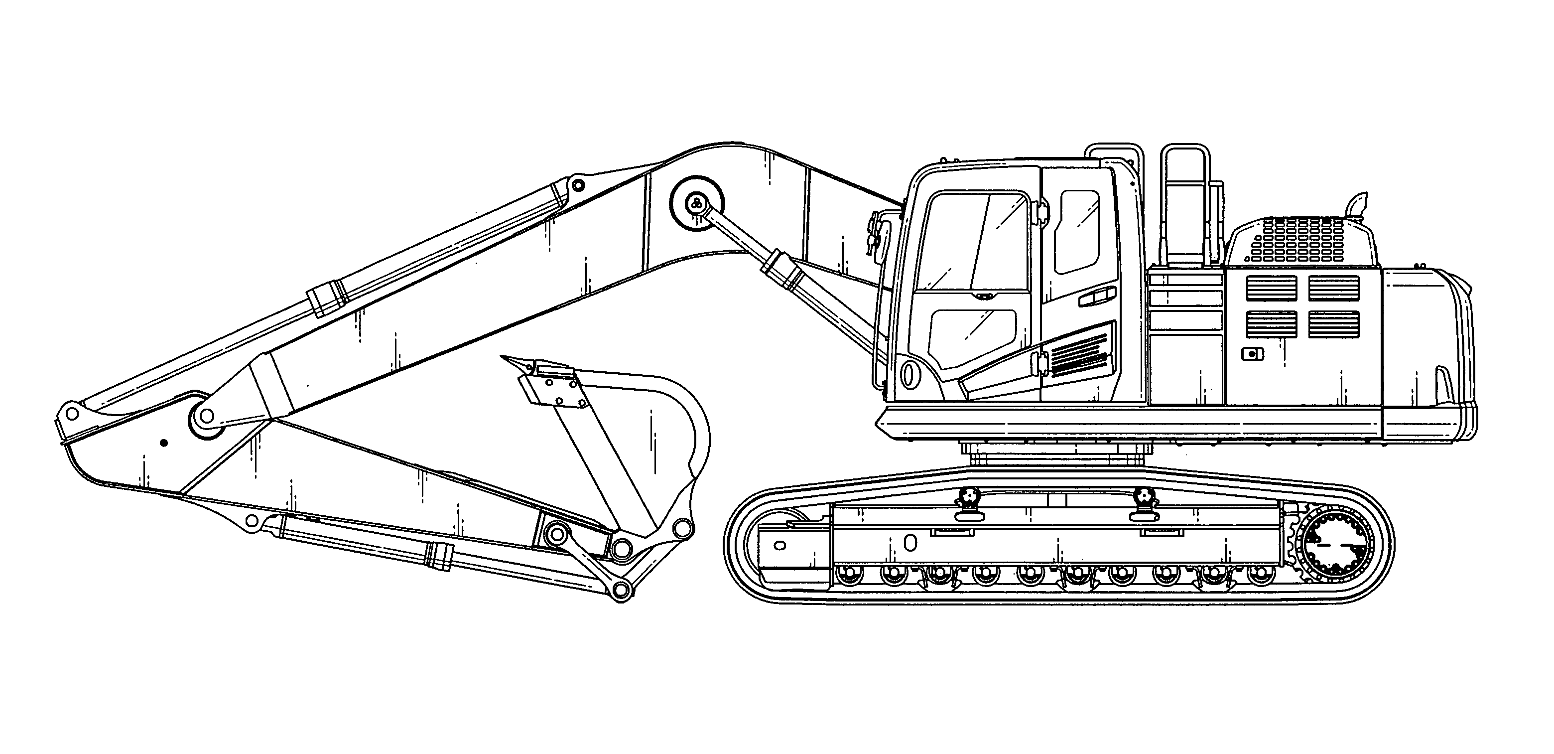 clip black and white download At paintingvalley com explore. Excavator drawing side view
