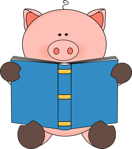 clip free stock Animal reading clipart. Pig a book pinterest