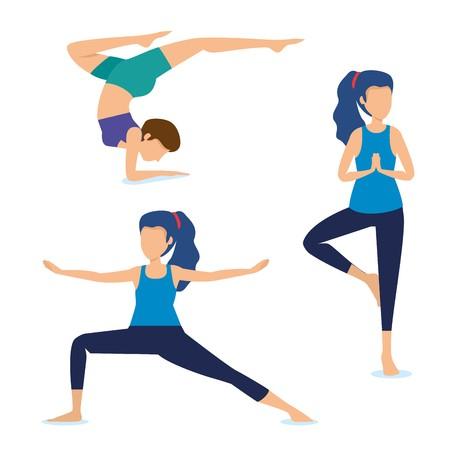 transparent Exercise vector. Set women practice yoga.