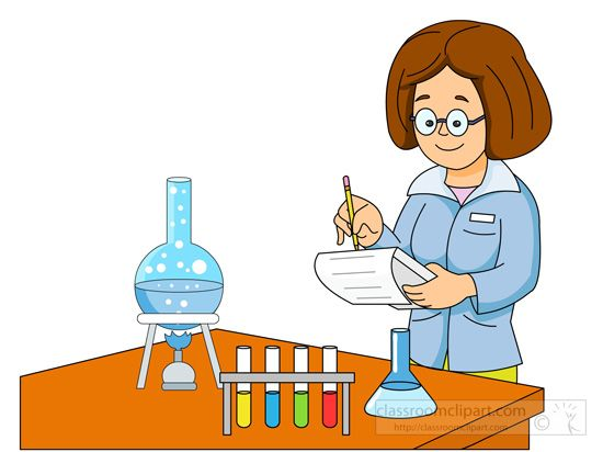 vector royalty free stock Lady scientist performing experiment. Science testing clipart