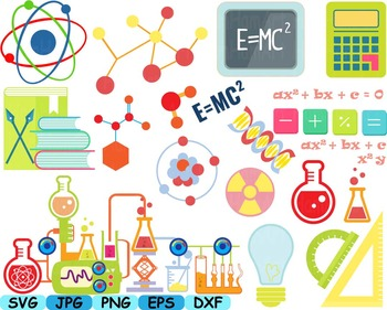 vector black and white Experiment clipart math science. School clip art svg