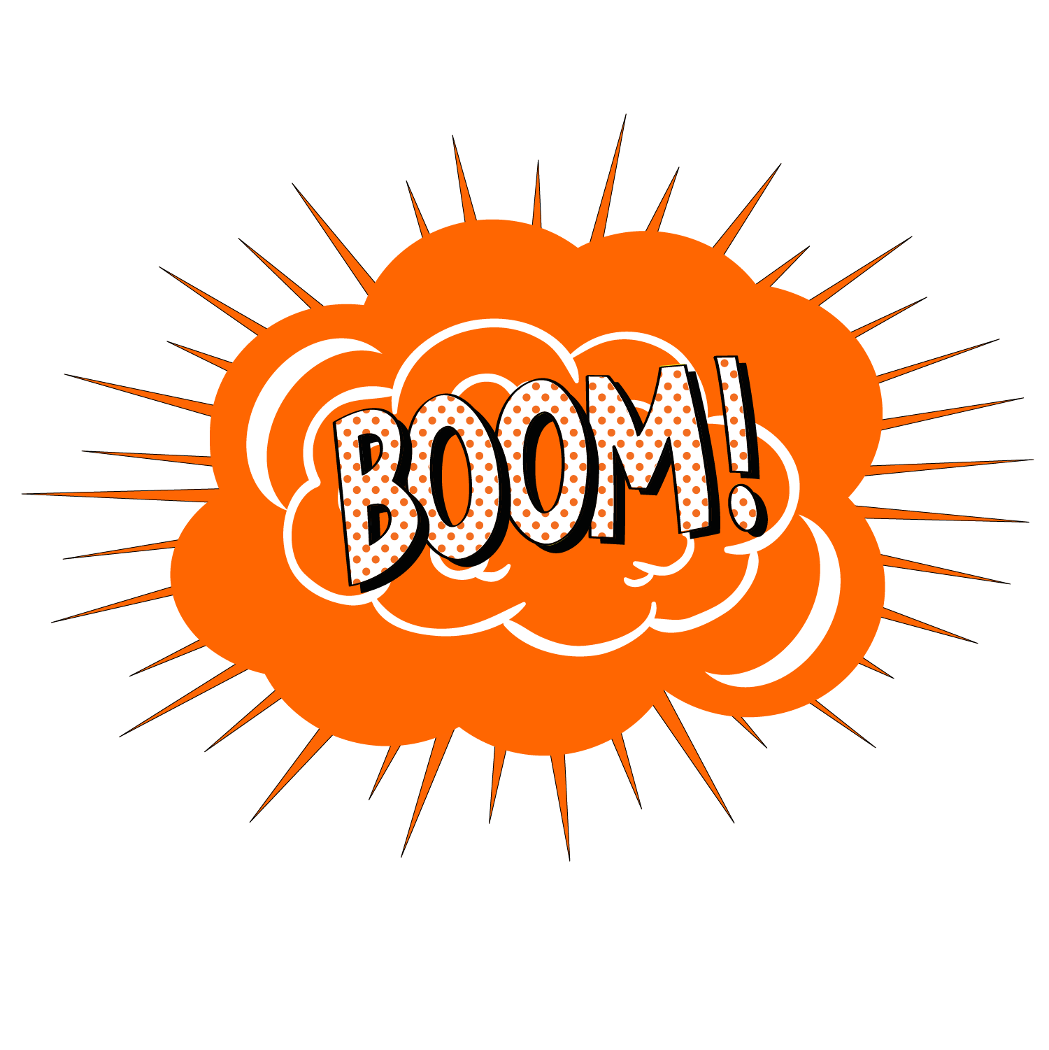 banner free Vector cartoon BOOM explosion effect
