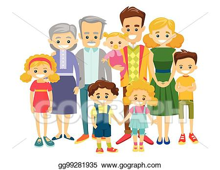 clipart free Vector art happy caucasian. Extended clipart complete family