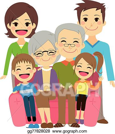 graphic free library Vector art happy drawing. Grandparent clipart extended family