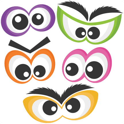 black and white download Halloween Spooky Eye Set SVG scrapbook cut file cute clipart files