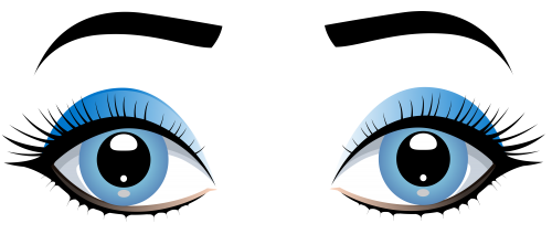clip black and white Blue female eyes with. Vector eyebrows hand drawn