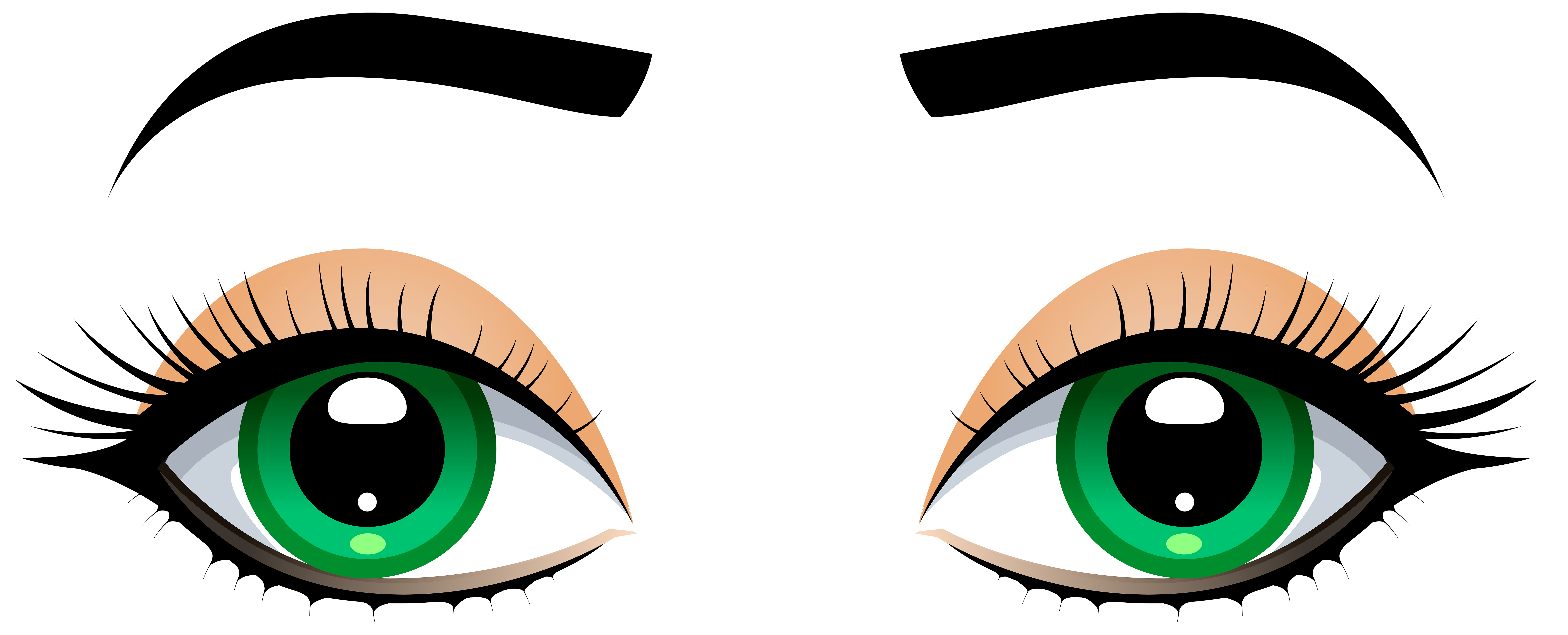 black and white download Female Eyes with Eyebrows PNG Clip Art