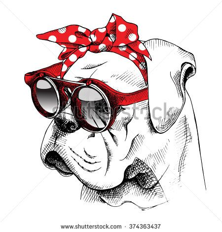 graphic freeuse download The image of the portrait Bulldog dog in the headband and