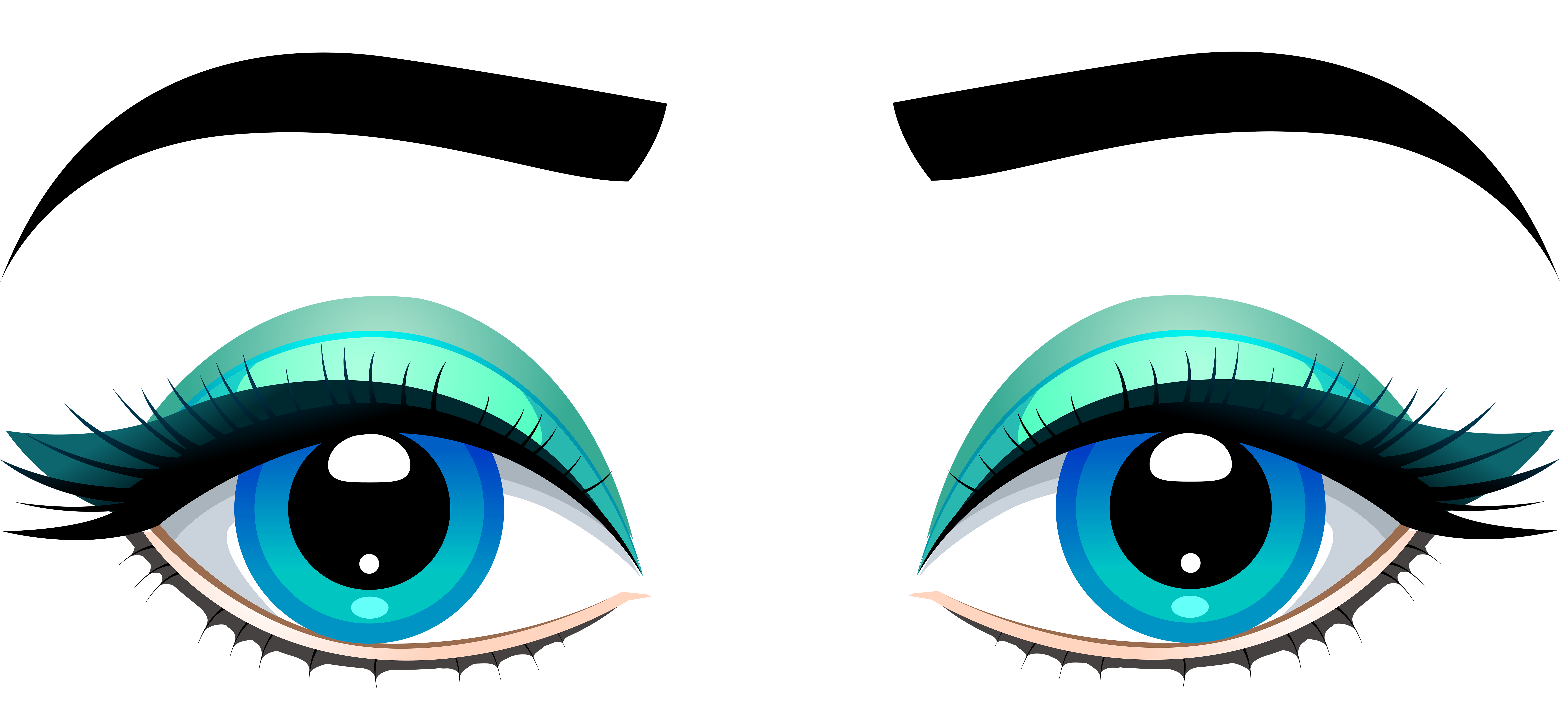picture black and white stock Female blue with eyebrows. Eyes clipart.