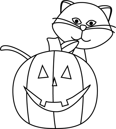 jpg royalty free library Face clipart black and white. Jack o lantern cat