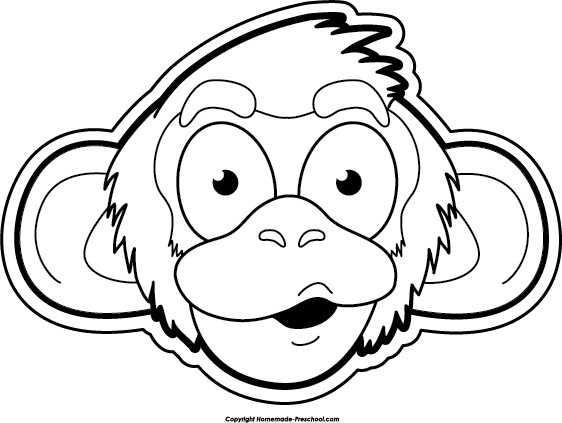 png free library Face clipart black and white. Monkey