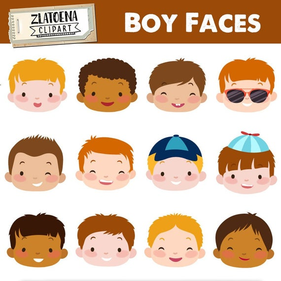 banner black and white download Cute boy kids digital. Faces clipart.