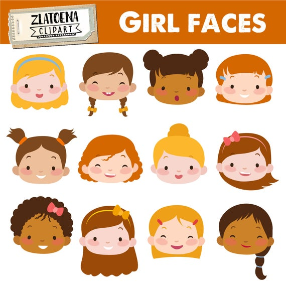 download Faces clipart. Cute girl kids digital.