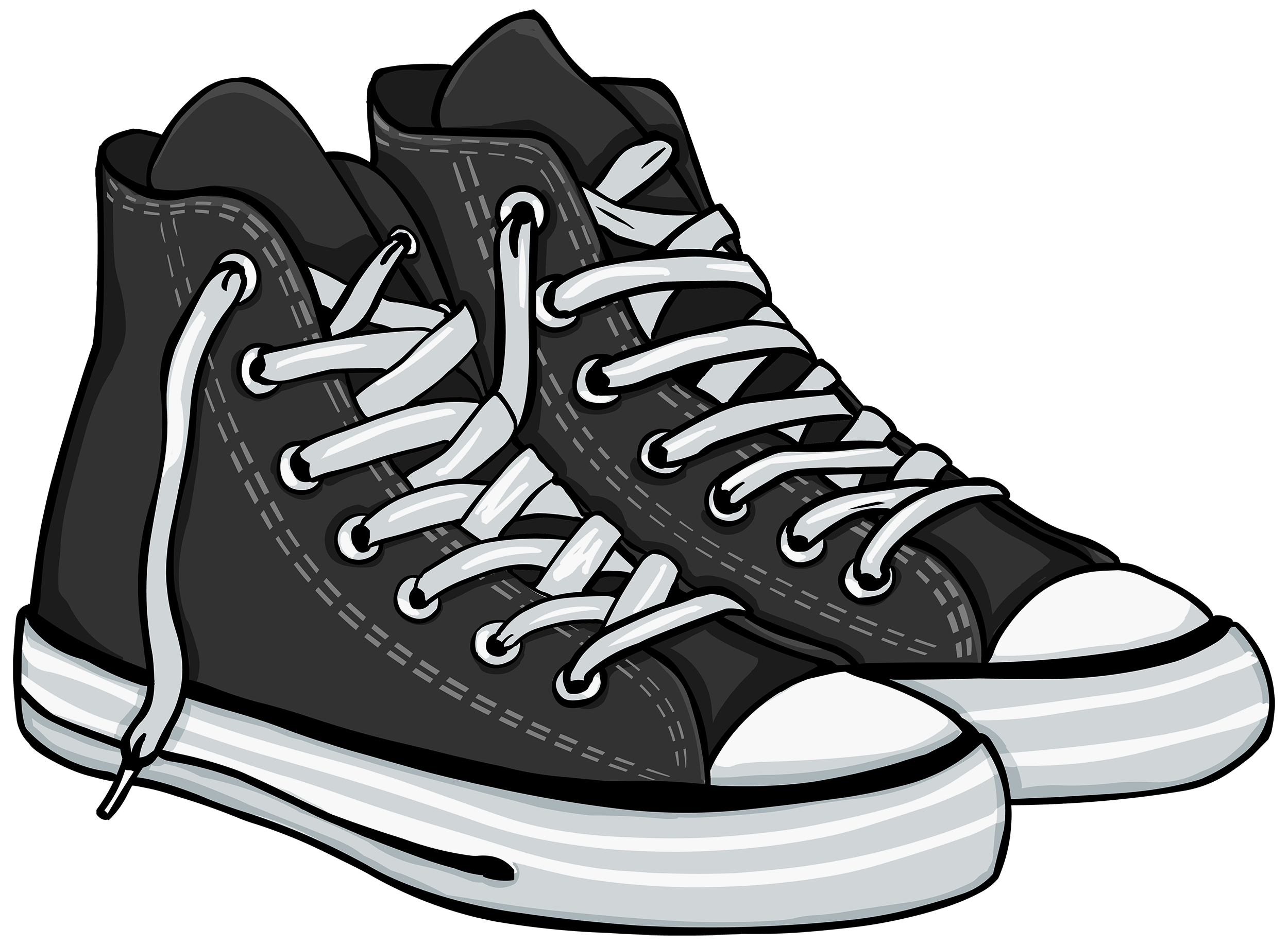 jpg library stock Shoes black and white. Tennis shoe clipart