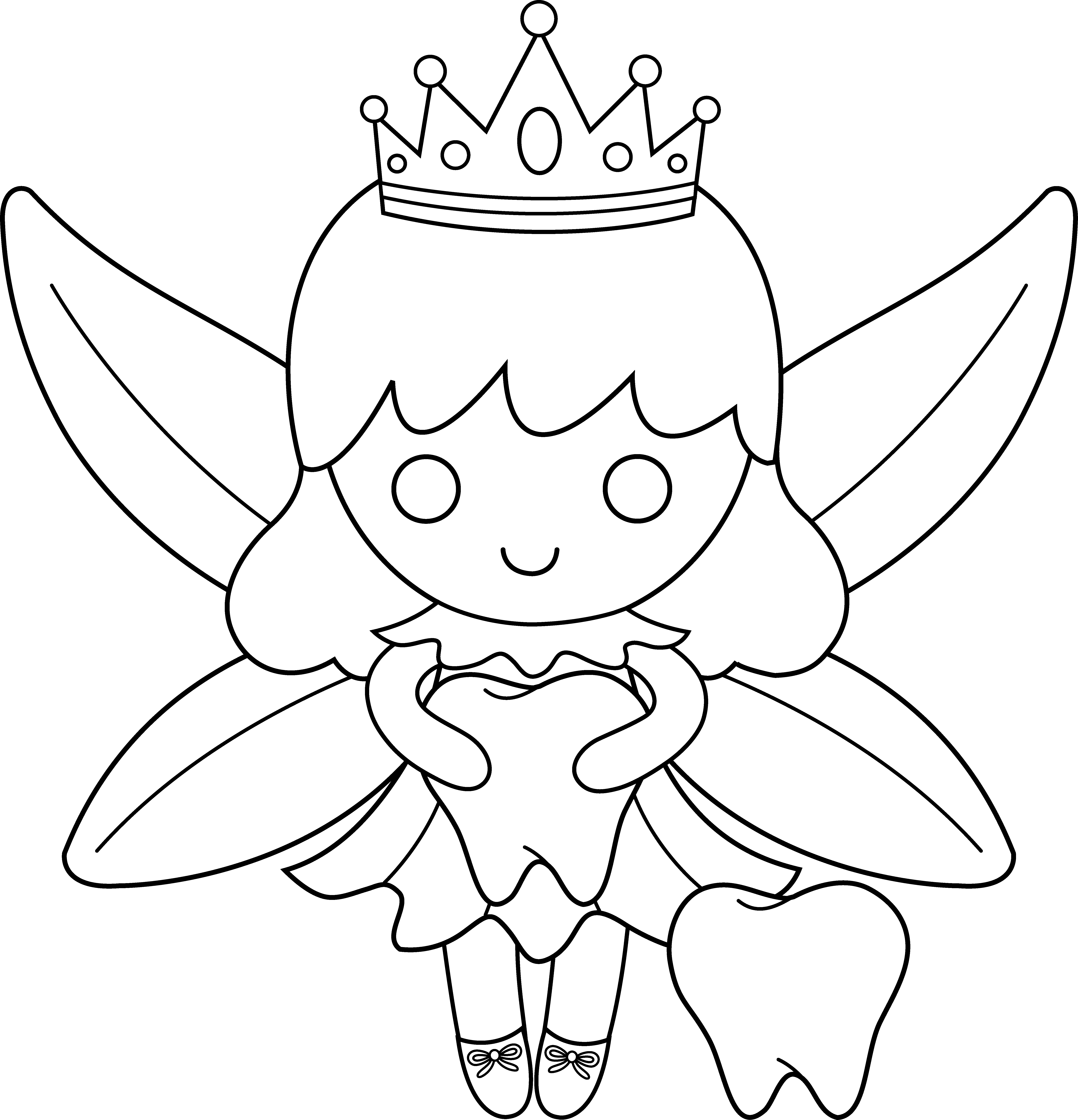 png download Cute colorable fairy free. Drawing tooth easy