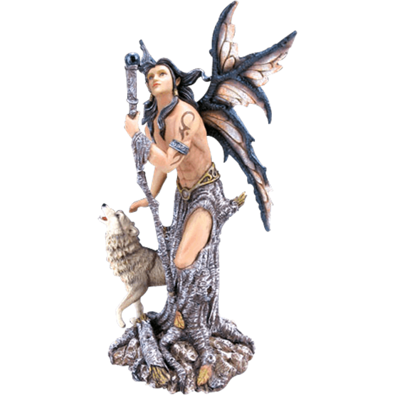 clipart royalty free library Male Fairy with Wolf Statue