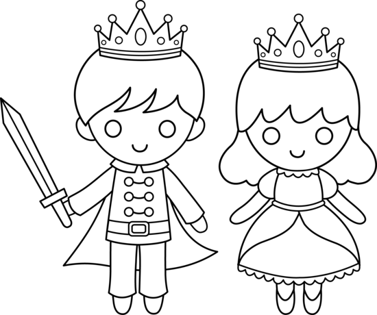 banner freeuse Prince and coloring page. Drawing princess easy