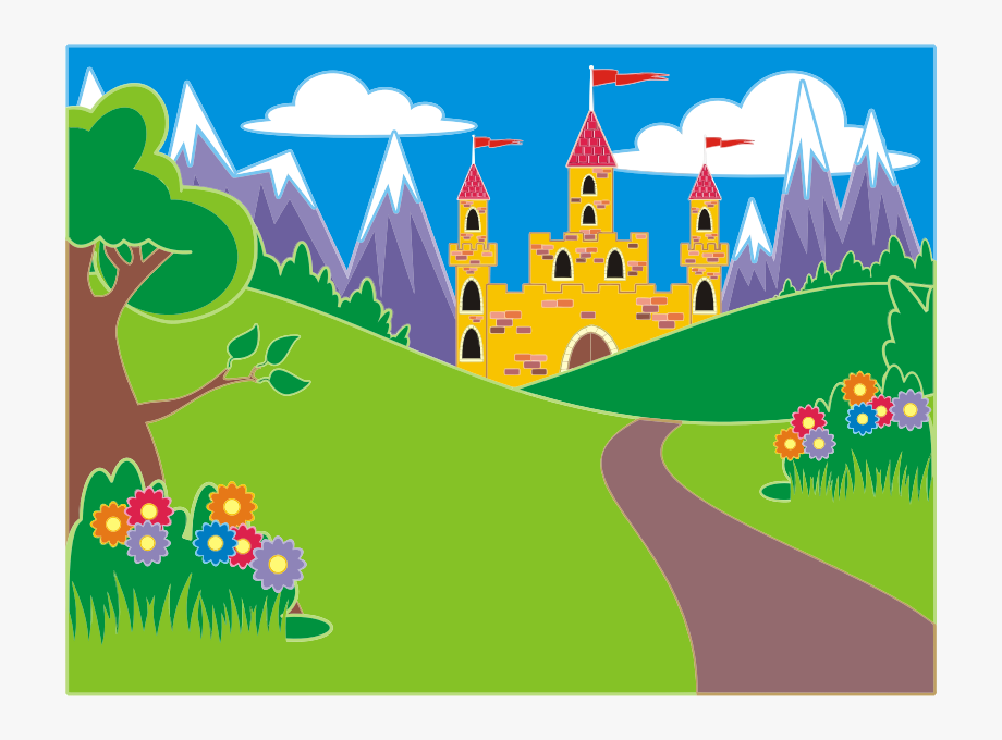 vector royalty free download Fairytale clipart fairytale scene. Unicorn landscape icon png
