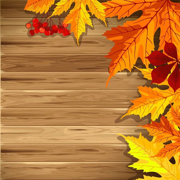 graphic royalty free library Wooden with leaves clip. Fall background clipart
