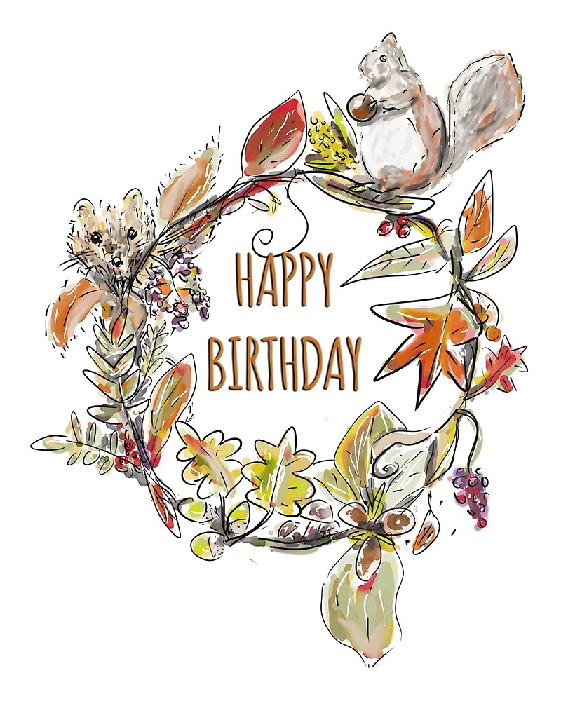 image library Fall happy birthday clipart. Whimsical autumn woodland wreath