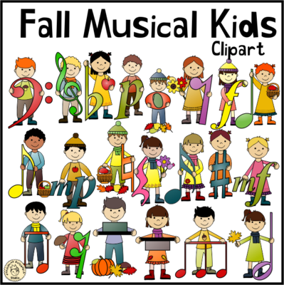 image Fall musical . Music kids clipart.