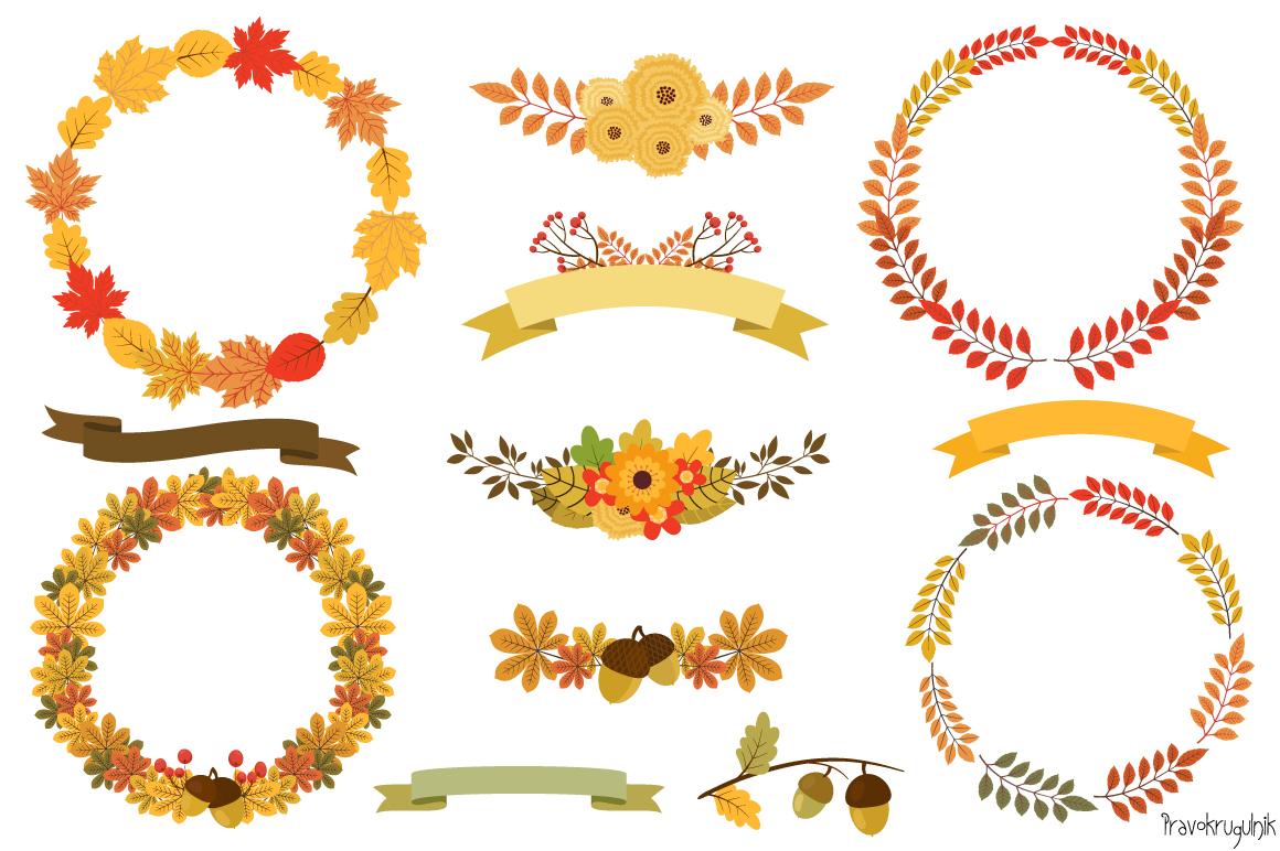 clip art library stock Fall wreath clipart. Autumn wreaths set