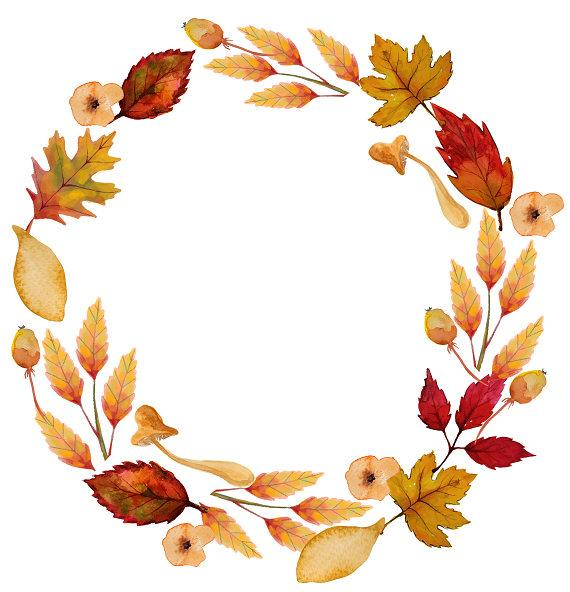 banner download Autumn leaves printable . Fall wreath clipart