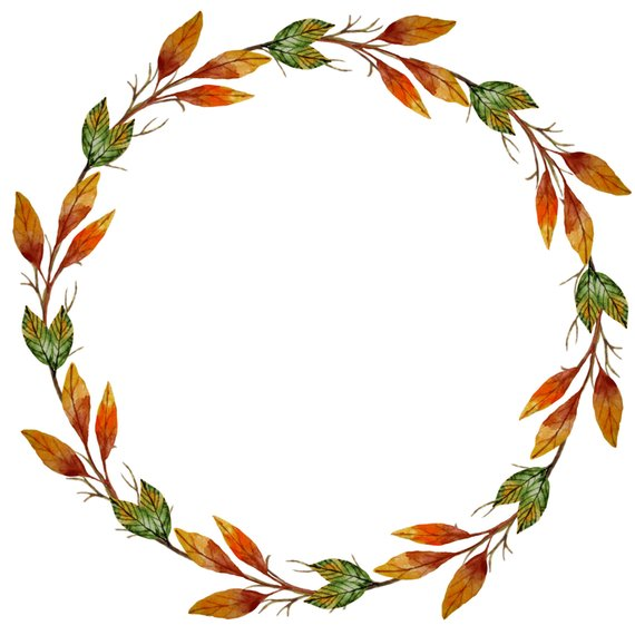 png black and white Fall wreath clipart. Watercolor autumn