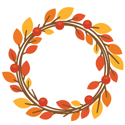 clip art library stock Svg scrapbook cut file. Fall wreath clipart
