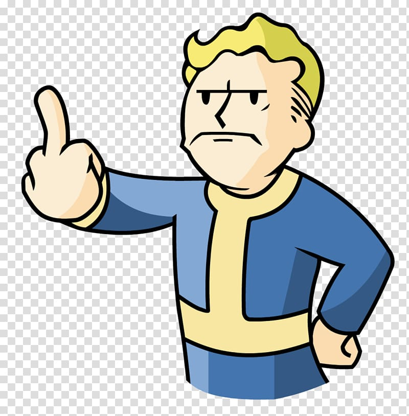 vector royalty free library Fallout transparent 3. Middle finger shelter boy
