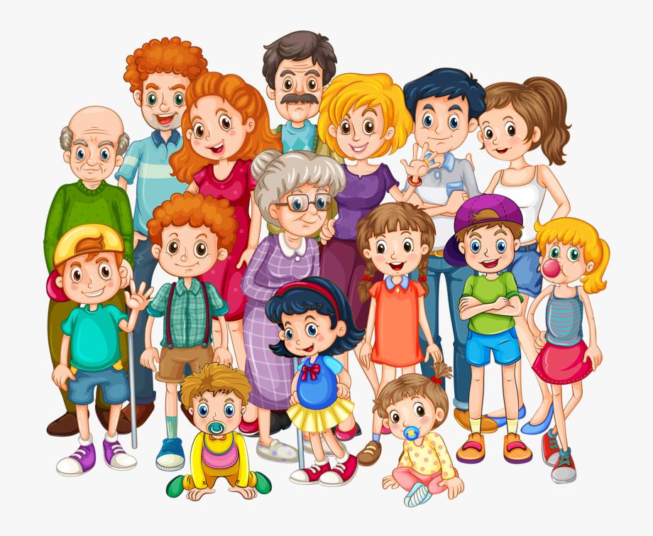 graphic transparent download Big family transparent cartoon. Families clipart.