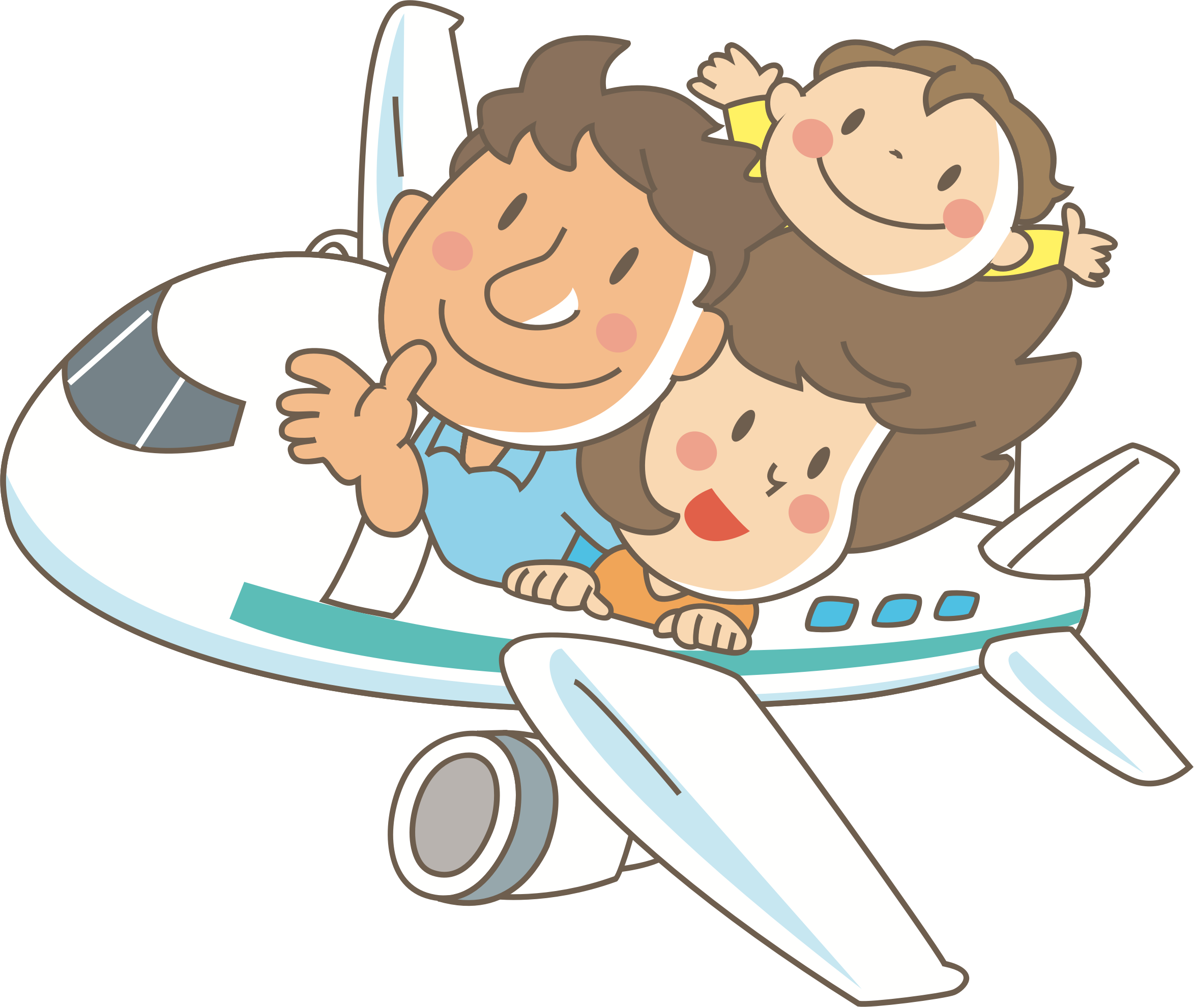 library Family in flight big. Families clipart airplane