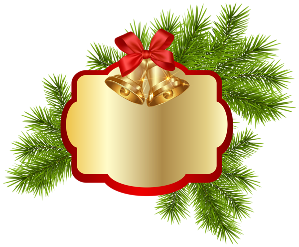 clip free Christmas Blank Decor with Bells PNG Clipart Image