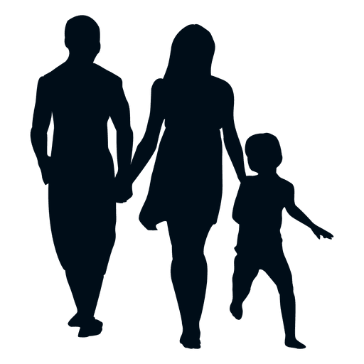 picture black and white library Family with child silhouette