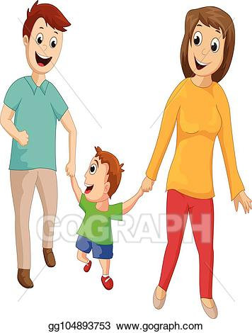 png free library Vector stock together illustration. Family walking clipart
